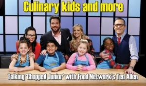 Junior chefs pose with judges Monti Carlo, Scott Conant and Sarah Michelle Gellar and host Ted Allen on Food Network's 'Chopped Junior.' (Photo courtesy of Television Food Network)