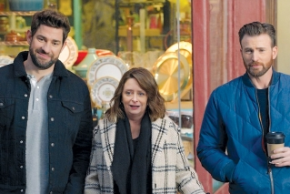 This undated image provided by Hyundai Motor America shows from left John Krasinski, Rachel Dratch and Chris Evans in a scene from the company's 2020 Super Bowl NFL football spot. The automaker pokes fun at Boston accents with a 60-second ad in the second quarter that uses Boston-affiliated celebrities including actor Chris Evans, John Krasinski, Saturday Night Live alum Rachel Dratch and Boston Red Sox David Ortiz.