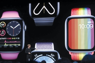 Apple's Kevin Lynch speaks on Apple Watch at the Apple Worldwide Developers Conference in San Jose, Calif., Monday, June 3, 2019.