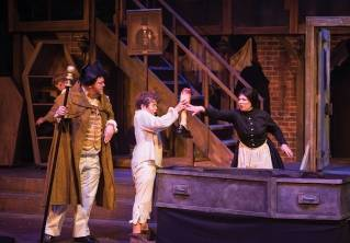 "From left, Ben Layman, Zachary Spreng and Annie Leonardi-Merchant star in Penobscot Theatre Company's production of ""Oliver!"""
