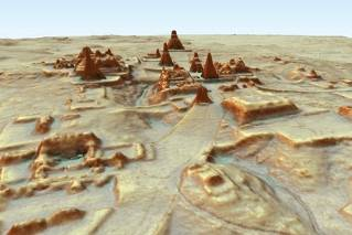 This digital 3D image provided by Guatemala's Mayan Heritage and Nature Foundation, PACUNAM, shows a depiction of the Mayan archaeological site at Tikal in Guatemala created using LiDAR aerial mapping technology. Researchers announced Thursday, Feb. 1, 2018, that using a high-tech aerial mapping technique they've found tens of thousands of previously undetected Mayan houses, buildings, defense works and roads in the dense jungle of Guatemala's Peten region, suggesting that millions more people lived there than previously thought.